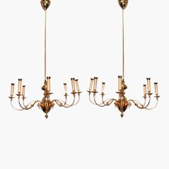 Mid Century Brass Chandeliers from Lumi, Set of 2
