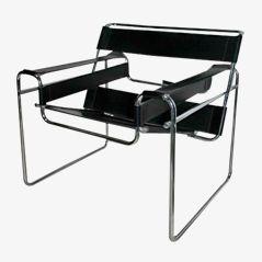 Schwarzer Lederstuhl von Marcel Breuer für Gavina, 1970