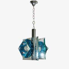 Lámpara colgante de vidrio y metal de Veca, años 60