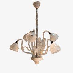Lampada da soffitto vintage in ottone e vetro, anni '40