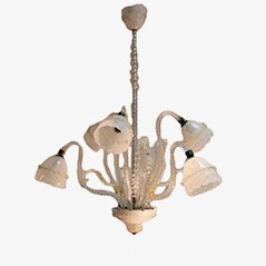 Vintage Glass & Brass Ceiling Lamp, 1940s