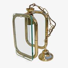 Lámpara italiana de vidrio y latón, años 40