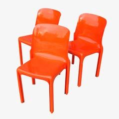 N.3 Selene Chairs by Vico Magistretti for Artemide, 1968, Set of 3