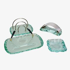 Crystal Glass Desk Set from Fontana Arte, 1940s
