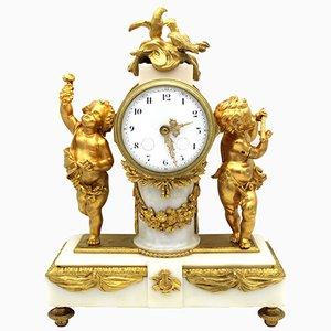 Napoleon III Uhr aus vergoldeter Bronze & Marmor, 19. Jh