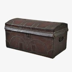Vintage Studded Leather Dome Top Trunk