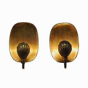 Brass Sconces by Lars Holmström for Arvika 1950s, Set of 2