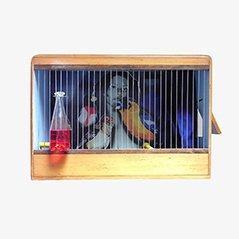 Jaula para pájaros francesa de madera y metal, años 60