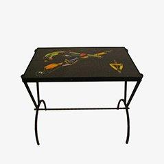 Mesa auxiliar con tablero de cerámica, años 60