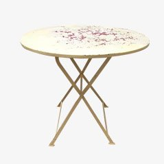 Industrial French Round Folding Table