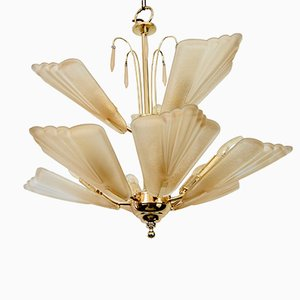 Vintage Frosted Glass 2 Tier Chandelier from S.A.L.I.R. Murano