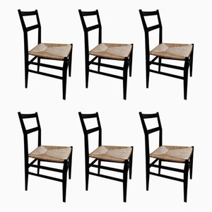Model 646 Leggera Dining Chairs by Gio Ponti for Cassina, 1970s, Set of 6
