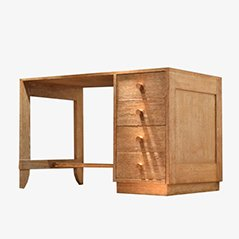 Leaded Oak & Copper Desk by Jacques Adnet