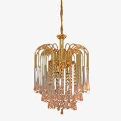 Mid-Century Champagne Rosé Crystal & Gold Colored Metal Chandelier