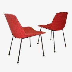 Rote Stühle von Saporiti, 1950er, 2er Set