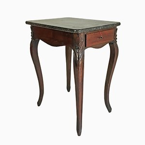 Antique French Walnut & Marble Side Table