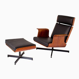 Teak Plywood Lounge Chair & Ottoman, 1960s,