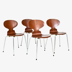 3107 Ant Chairs by Arne Jacobsen for Fritz Hansen, 1960s, Set of 4