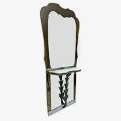 Consolle vintage in marmo e bronzo con specchio, anni '40