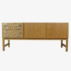 Vintage Cubist Carved Sideboard, 1970s