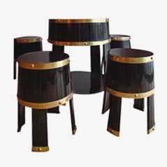 Cellar Barrel Table and Stools, Italy, 1950s, Set of 5