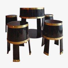 Mesa y tabureles italianos de barril, años 50. Juego de 5