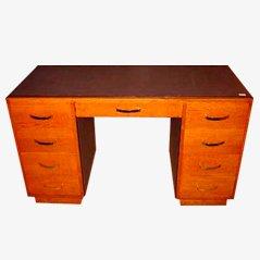 Oak and Chocolate Leather Art Deco Desk