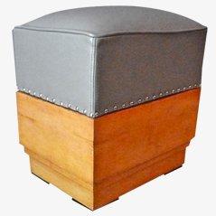 Art-Déco Sitzpuff aus Holz & Leder, 1930er