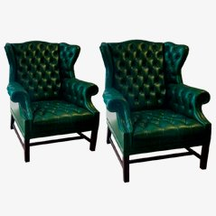 Vintage Green Spanish Armchairs, 1940s, Set of 2