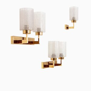 Mid-Century Glass & Brass Wall Lights, Set of 3