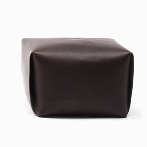 Bao Dark Brown Leather Ottoman by Viola Tonucci for Tonucci Manifestodesign