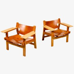 Spanish Chairs by Børge Mogensen, Set of 2
