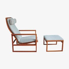 2254 Model Lounge Chair & Ottoman by Borge Mogensen