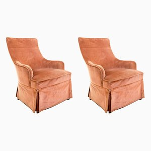 Vintage Spanish Pink Velvet Club Chairs, 1950s, Set of 2