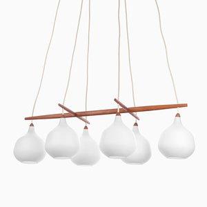 Vintage Pendant Lamp in Teak & Glass by Uno & Östen Kristiansson for Luxus, 1950s