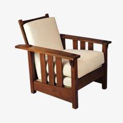 Silla reclinable estadounidense de roble, década de 1900