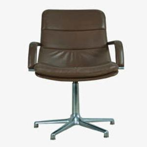 Vintage Leather & Aluminium Desk Chair from Artifort