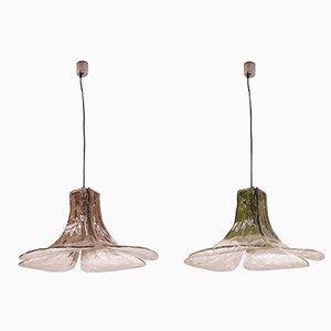Murano Glas LS 185 Deckenlampen von Carlo Nason für Mazzega, 1970er, 2er Set