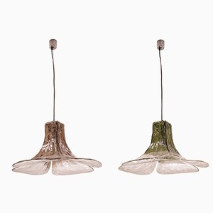 Murano Glass LS 185 Ceiling Lamps by Carlo Nason for Mazzega, 1970s, Set of 2