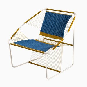Fuchila Chair in Blau & Gold von Marina Dragomirova