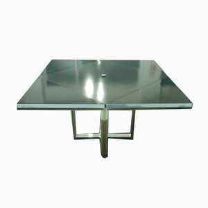 Chrome and Brass Convertible Dining Table by Romeo Rega, Italy, 1970s