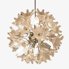 Florale Sputnik Hängelampe aus Kristallglas von Emil Stejnar, 1960er