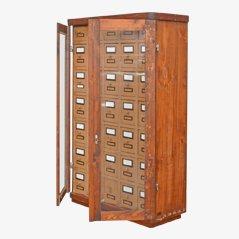 Vintage Wooden Filing Cards Cabinet