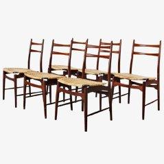 Italienische Esszimmerstühle, ca. 1950, 6er Set
