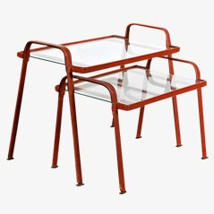 Nesting Tables by Jacques Adnet for Atelier Pinchon, Set of 2, 1950s
