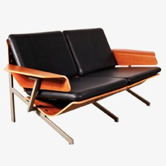 Divano in pelle a due sedute di Cornelis Zitman, 1964