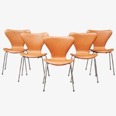 Lederstühle von Arne Jacobsen für Fritz Hansen, 5er Set