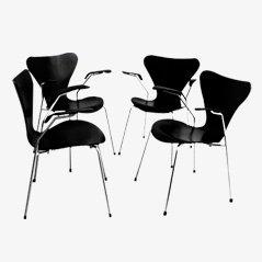 3207 Stühle von Arne Jacobsen für Fritz Hansen, 1955, 4er Set