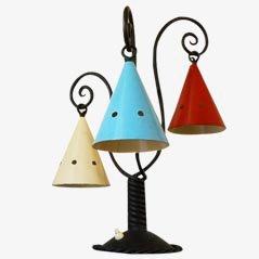 Lámpara de mesa Mid-Century de hierro fundido, años 30