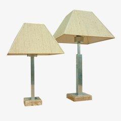 Lampes en Marbre & Acier par Maison Jansen, Set de 2